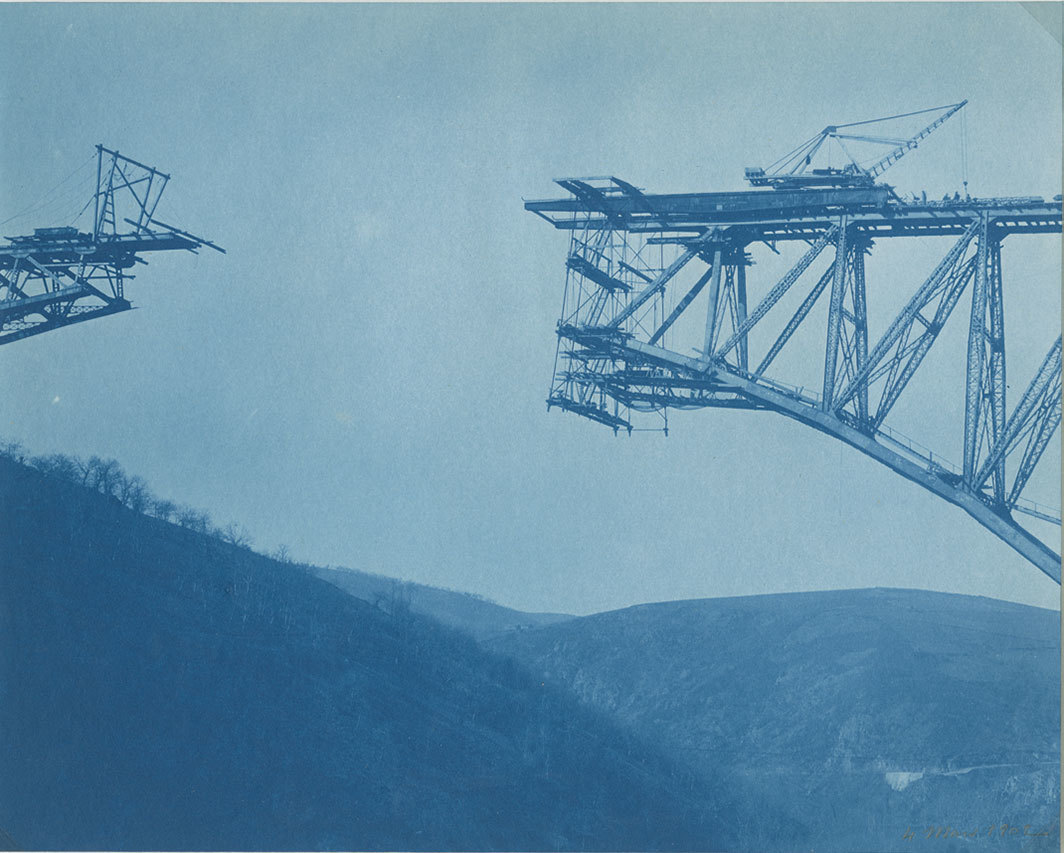 "Photographer unknown, Construction of the Viaur Viaduct near Aveyron, France, 1899–1902, cyanotype, 8 3⁄4 × 11 1⁄4"". From ""Destruction and Transformation: Vernacular Photography and the Built Environment."""