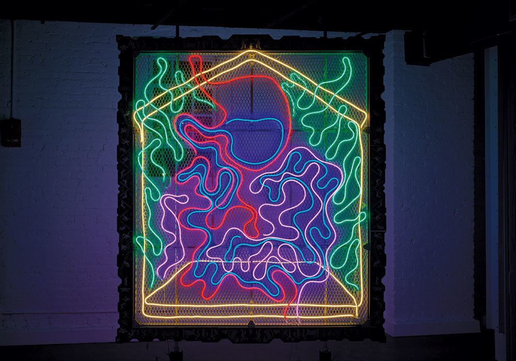 "Tabor Robak, Guts, 2019, aluminum extrusion, expanded aluminum sheet, LED neon, UV-printed brushed aluminum frame, hardware, cables, 96 × 84 × 3 1⁄2"". Photo: Johnny Fogg."