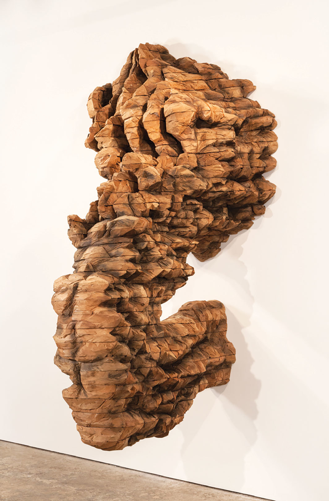 "Ursula von Rydingsvard, SCRATCH II, 2015, cedar and graphite, 10' 1"" × 6' 3"" × 4' 11""."