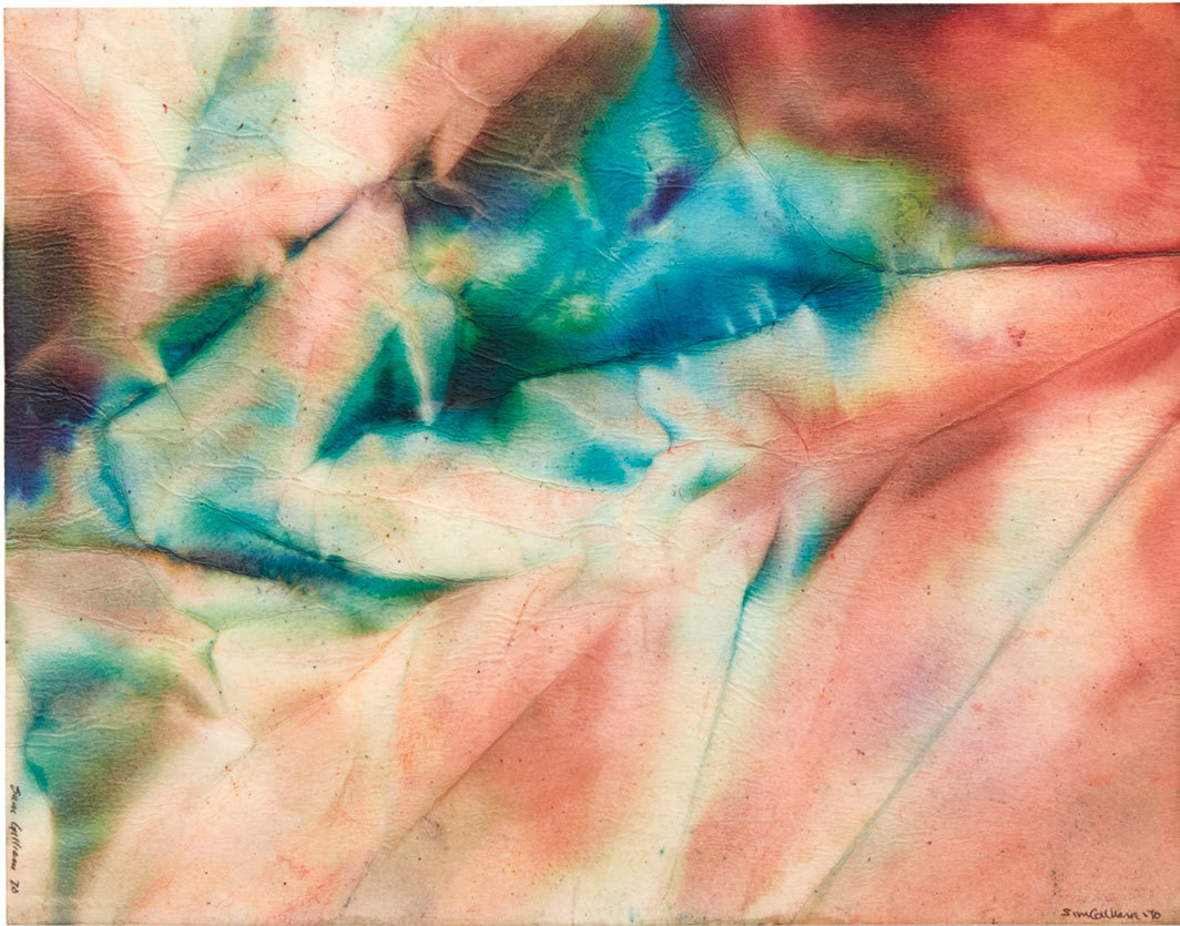 "Sam Gilliam, Untitled, 1970, watercolor on paper, 13 3⁄4 × 17 1⁄2""."