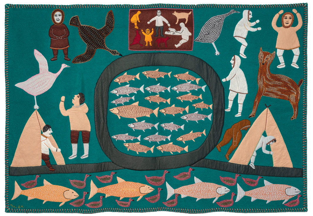 "Mary Mariq Kuutsiq, At the Fishing Weir, 1994, wool duffel, felt, embroidery floss, 37 × 55 1⁄2"". From ""Nivinngajuliaat from Baker Lake."""