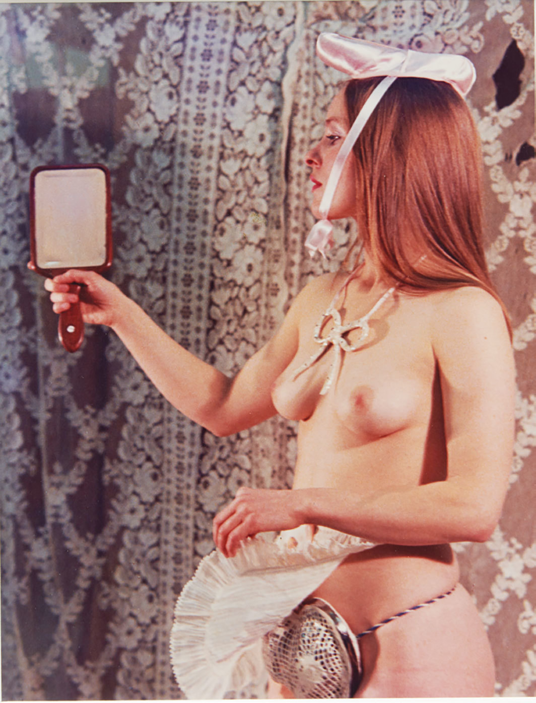 "Rose English, Study for a Divertissement: Jo and Porcelain Cache-Sexe, 1973, C-print, 10 1⁄4 × 7 7⁄8""."