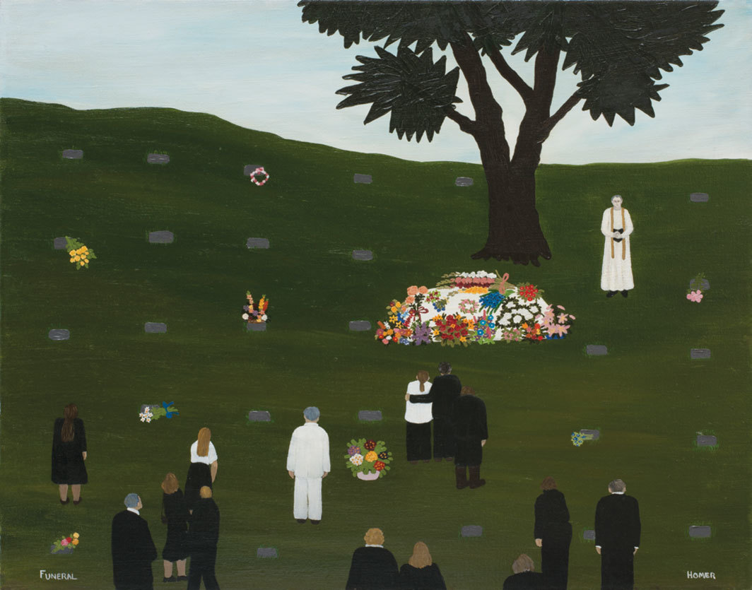 "Jessie Homer French, Funeral, 1978, oil on canvas, 24 × 29 7⁄8""."