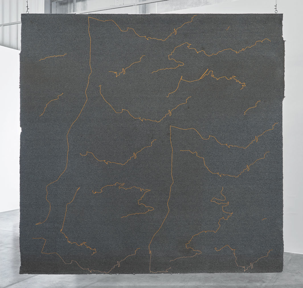 "Stéphanie Saadé, The Encounter of the First and Last Particles of Dust, 2019, carpet, embroidery, 11' 1⁄8"" × 11' 1⁄2""."