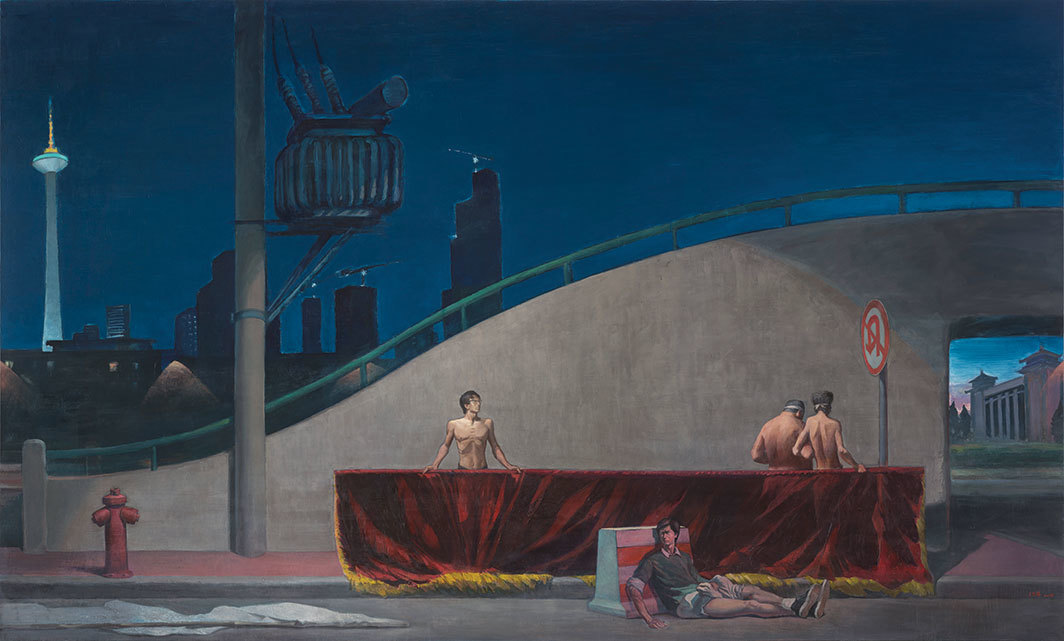 "Wang Xingwei, Shenyang Night, 2018, oil on canvas, 9' 10 1⁄8"" × 16' 3""."