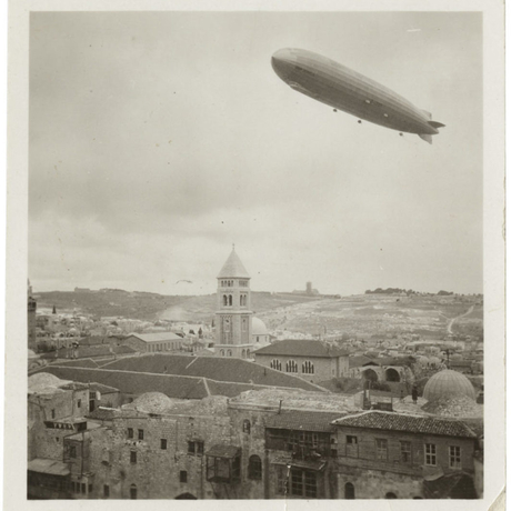 Hindenburg zeppelin over Jerusalem, Palestine, 1936. Unidentified photographer. Photo: Arab Image Foundation.
