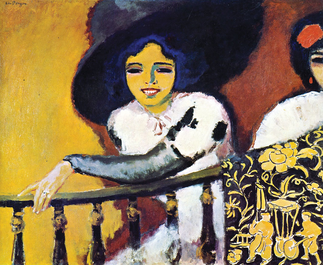 "*Kees van Dongen, _Femmes à la balustrade_ (Women at the Balustrade), 1910–11,* oil on canvas, 32 × 39""."