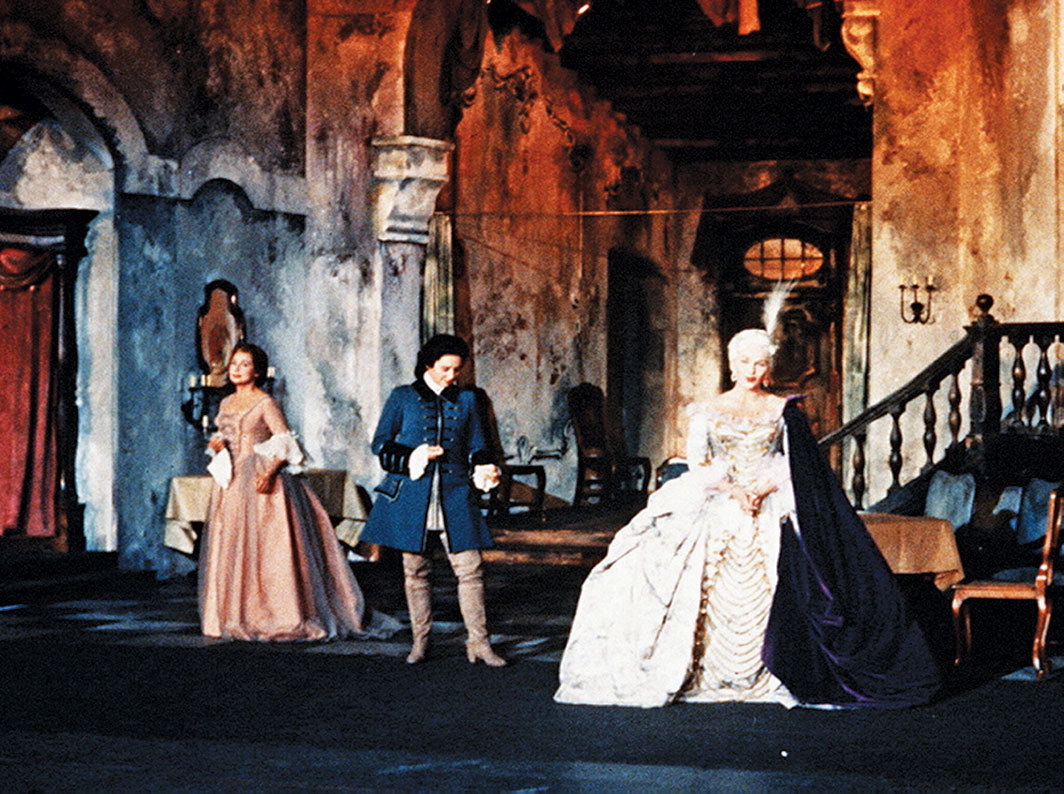 *Final trio of a 1962 perfor­mance of Richard Strauss's _Der Rosenkavalier_ (The Knight of the Rose), 1911.* From left: Sophie (Anneliese Rothenberger), Octavian (Sena Jurinac), and Countess von Werdenberg the Marschallin (Elisabeth Schwartzkopf). Photo: GTV Archive/Shutterstock.