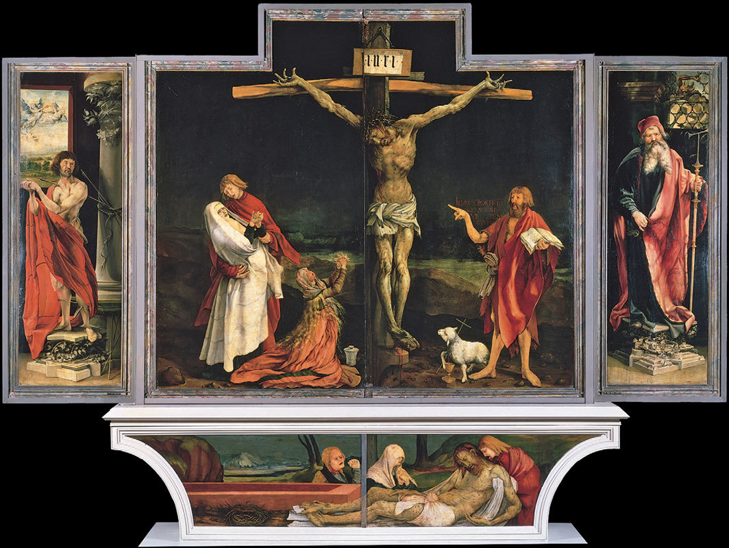 "*Niclaus of Haguenau and Matthias Grünewald, Isenheim Altarpiece, ca. 1512–16,* oil and tempera on limewood panels, closed 12' 4"" × 17' 61⁄4""."