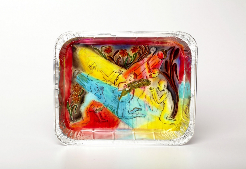 "Thomas Lanigan-Schmidt, Mysterium Tremendum, late 1980s, mixed media on aluminum tray. 13 x 10 1/2 x 2""."
