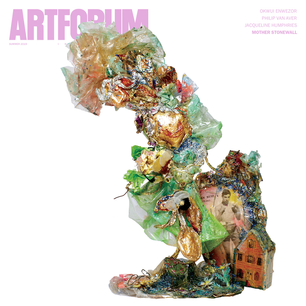 "On the cover of Artforum's 2019 summer issue: Thomas Lanigan-Schmidt, Allegory of The Stonewall Riot (Statue of Liberty Fighting For Drag Queen, Husband, And Home), 1969, foil, plastic wrap, pipe cleaners, linoleum, glitter, acrylic paint, acrylic floor shine, food coloring, staples, wire, printed material, found objects and other media, 12 X 7 X 4""."
