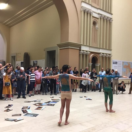 Activists protesting the building of the Ilisu Dam in Turkey at the Pergamon Museum in Berlin on Saturday, July 13. Photo: the Initiative to Keep Hasankeyf Alive.