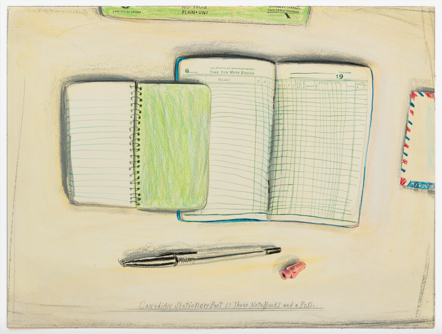 "Candy Jernigan, CANADIAN STATIONERY PT I: Three Notebooks And A Pen, n.d., colored pencil on paper, 12 x 16""."