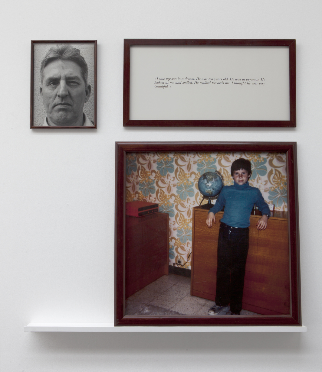 Sophie Calle, The Blind. My son, 1986, framed text, framed black-and-white photograph, framed color photograph, one shelf, dimensions variable.