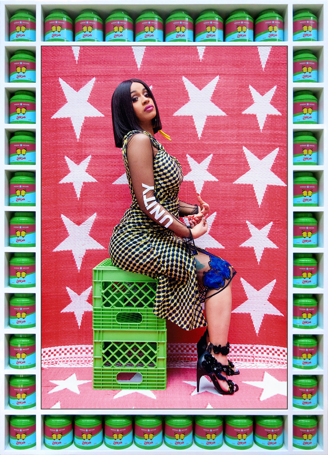 "Hassan Hajjaj, Cardi B Unity, 2017, metallic lambda print on Dibond, wood, spray paint, tea canisters, 55 x 40 x 4""."