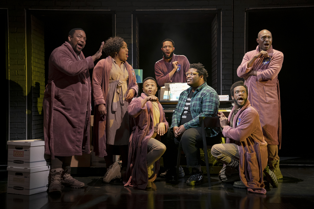 Michael R. Jackson, A Strange Loop. Playwrights Horizons, New York, 2019. From left to right: John-Andrew Morrison, L Morgan Lee, John-Michael Lyles, Jason Veasey, Larry Owens (plaid shirt), Antwayn Hopper, James Jackson, Jr.