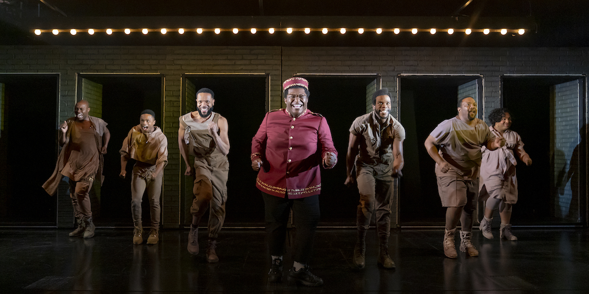 Michael R. Jackson, A Strange Loop. Playwrights Horizons, New York, 2019. From left to right: James Jackson, Jr., John-Michael Lyles, Jason Veasey, Larry Owens, Antwayn Hopper, John-Andrew Morrison, L Morgan Lee.