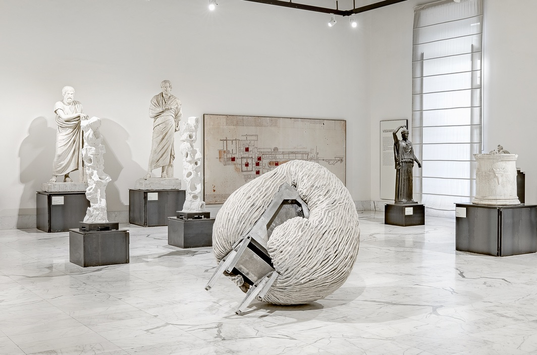 "View of ""Juliana Cerqueira Leite: Orogenesis,"" 2019, National Archaeological Museum of Naples. Foreground: Anthropometry, 2019. Photo: Enrico Fiorese. Courtesy Alma Zevi Gallery."
