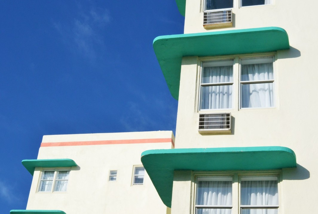 """Eyebrow"" cantilevered sun shades on a Miami Beach building facade."