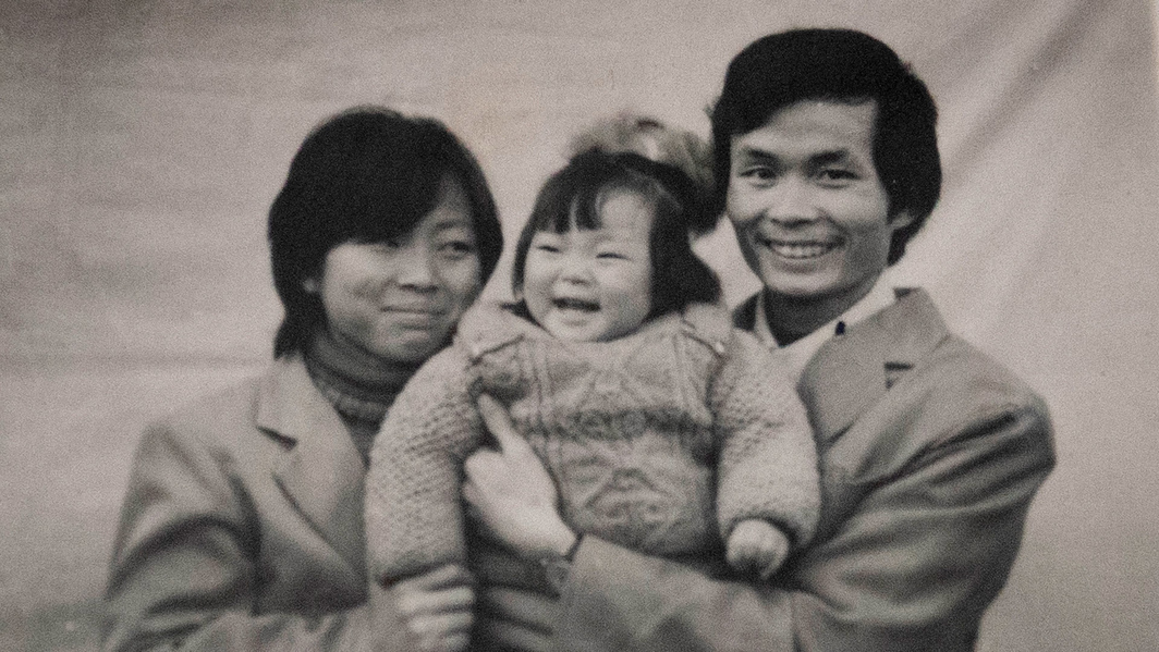 Nanfu Wang and Jialing Zhang, One Child Nation, 2019, DCP, color, sound, 89 minutes. Archival photo of Nanfu Wang and her parents. Photo: Amazon Studios.