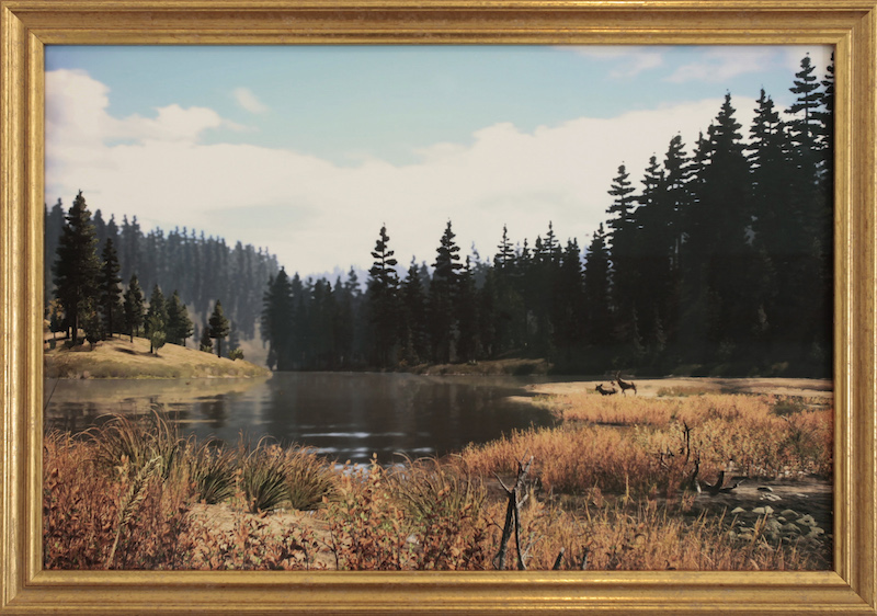 Bita Razavi, Screenshot From Far Cry 5, 2019, digital print on fine art paper in gilded frame, 23 5/8 x 15 3/4''.