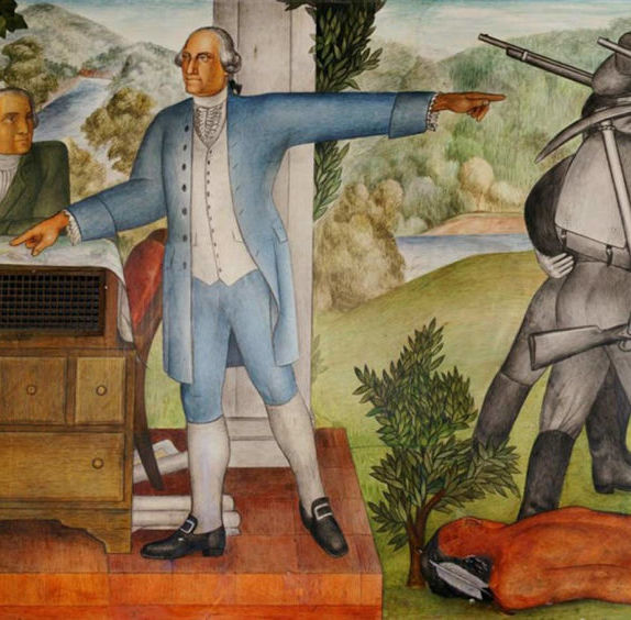 Detail of The Life of George Washington, 1936, at George Washington High School in San Francisco.
