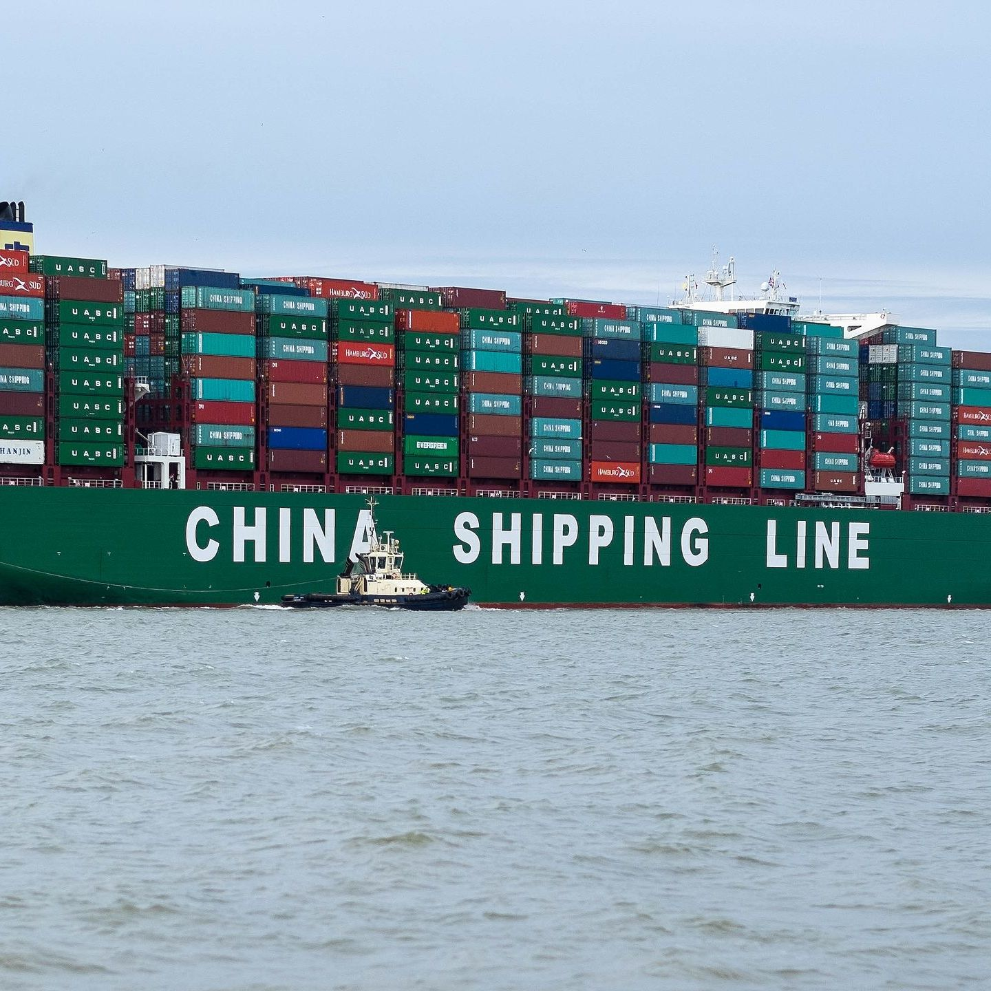 A ship owned by China Shipping Container Lines arriving in Felixstowe, England.