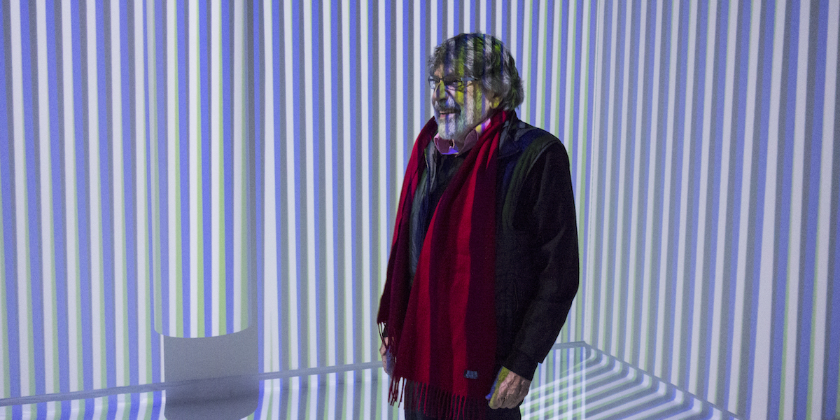 "Carlos Cruz-Diez in Environnement Chromointerférent, 2010, included in the 2017 exhibition ""Chroma"" at SCAD Museum of Art. Photo: Rafael Guillén."