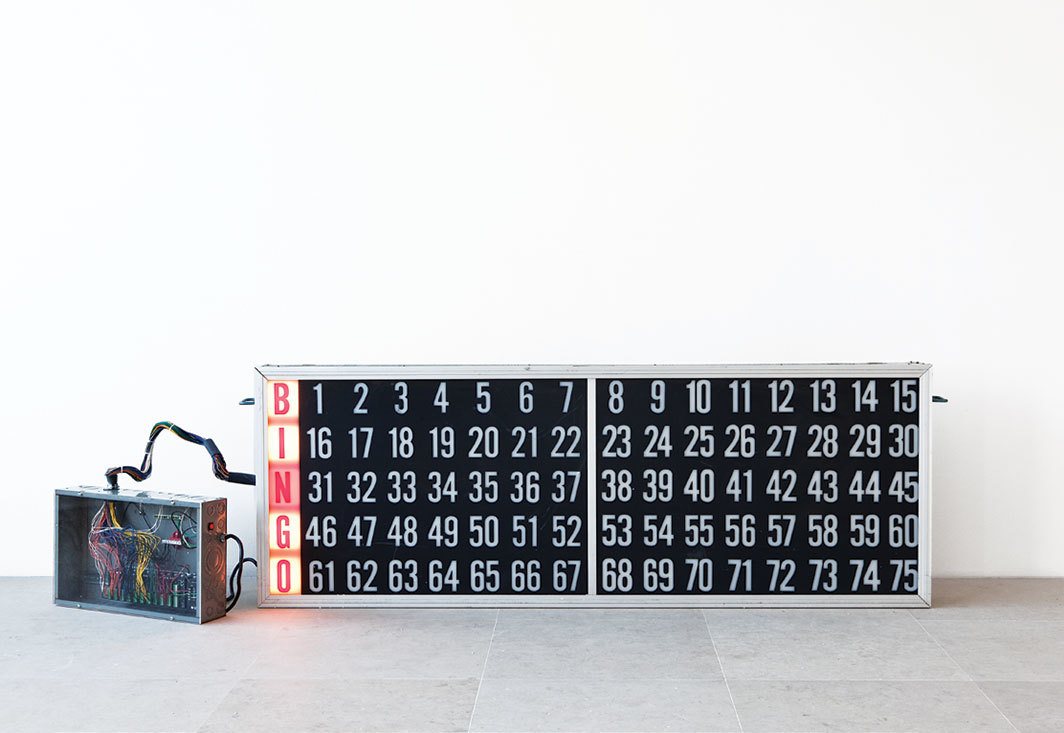 "Lutz Bacher, Bingo (Or the Year I Was Born), 2008, Plexiglas, aluminum, steel, paint, lightbulbs, wires, programmable logic controller, 29 × 80 × 6 1⁄2""."