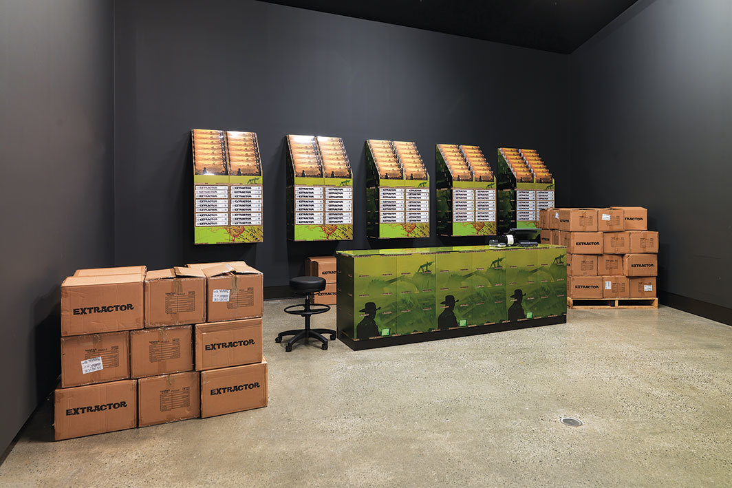 Boxes of Simon Denny's board game Extractor, 2019. Installation view, Museum of Old and New Art, Hobart, Australia. Photo: Jesse Hunniford.