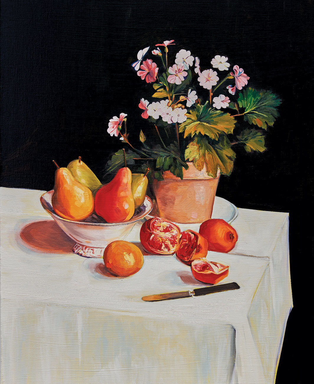 "Sam McKinniss, Still Life with Primroses, Pears and Pomegranates (after Fantin-Latour), 2018, oil and acrylic on canvas, 30 × 24""."