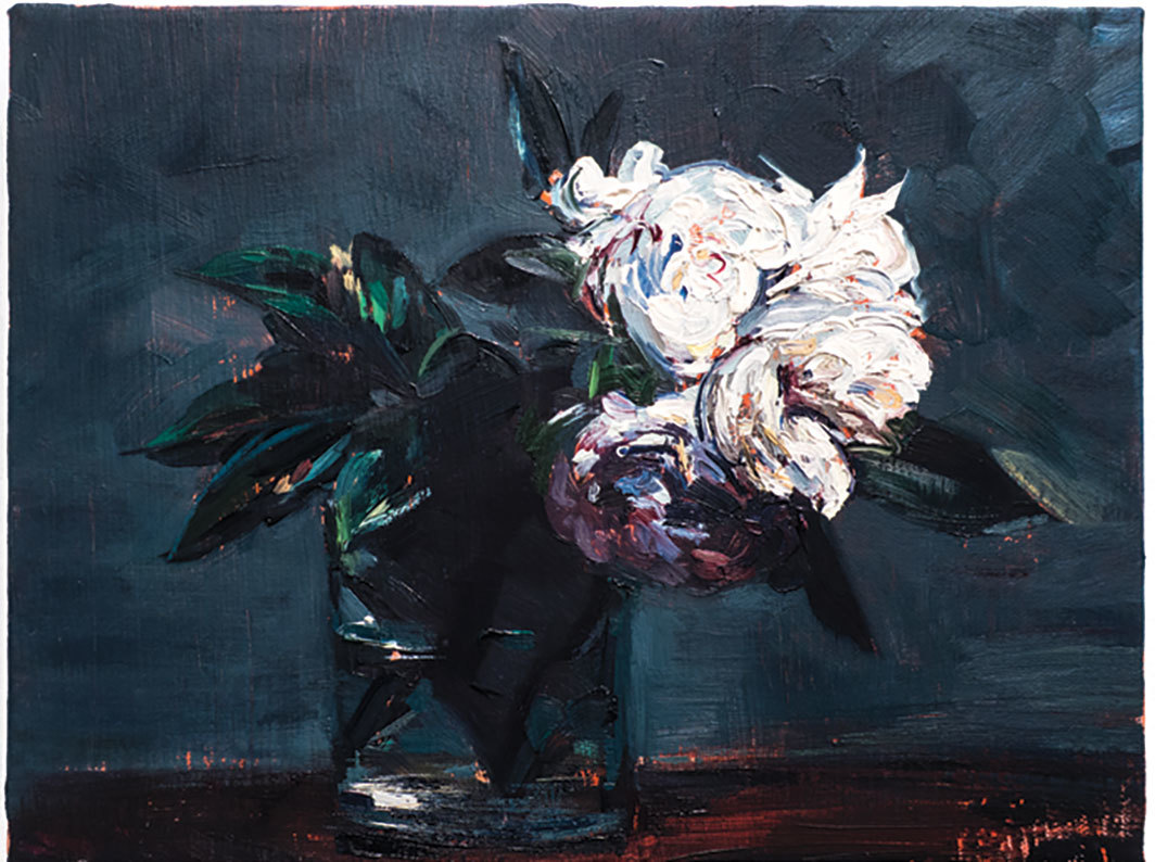 "Sam McKinniss, White Roses in a Short Glass (after Fantin-Latour), 2016, oil and acrylic on canvas, 9 × 12""."