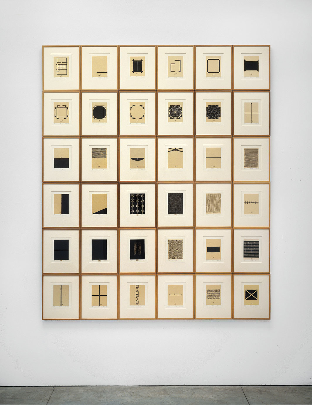 "Zarina, Home Is a Foreign Place, 1999, suite of thirty-six woodcuts on Kozo paper mounted on paper, each 16 × 13""."
