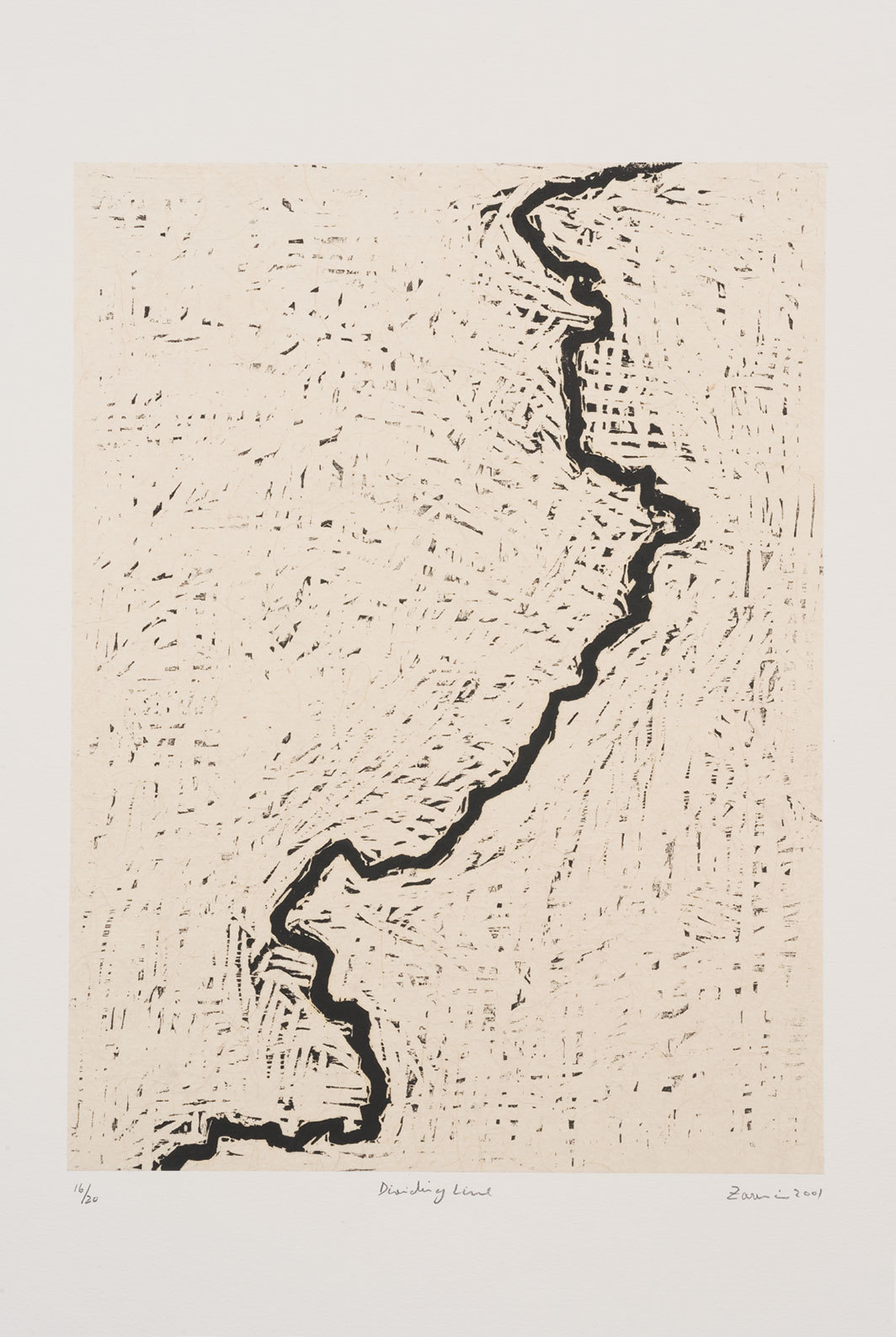 "Zarina, Dividing Line, 2001, woodcut on handmade Indian paper mounted on paper, 25 3⁄4 × 19 3⁄4""."