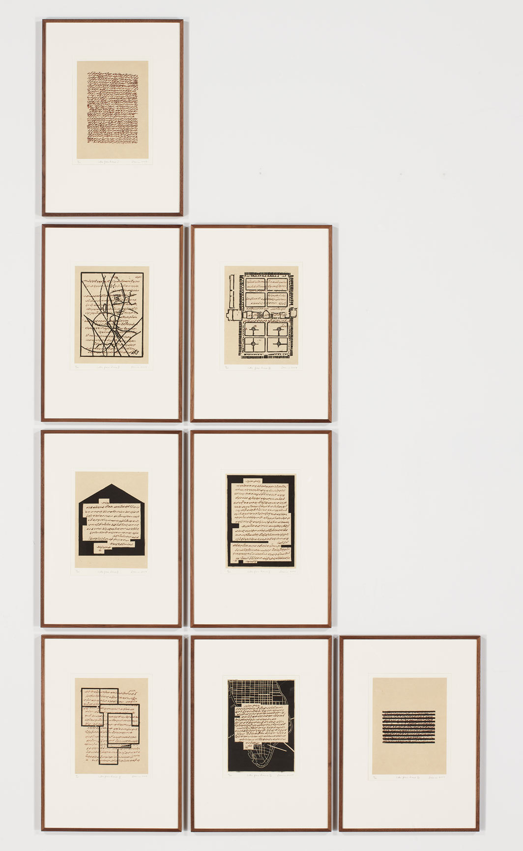 "Zarina, Letters from Home, 2004, suite of eight woodcut and metal-cut prints on handmade Kozo paper mounted on paper, each 22 1⁄4 × 15""."