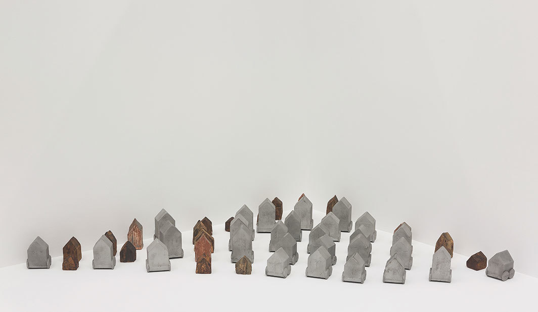 Zarina, Homes I Made, 1984–1992, aluminum, stained terra-cotta, dimensions variable.