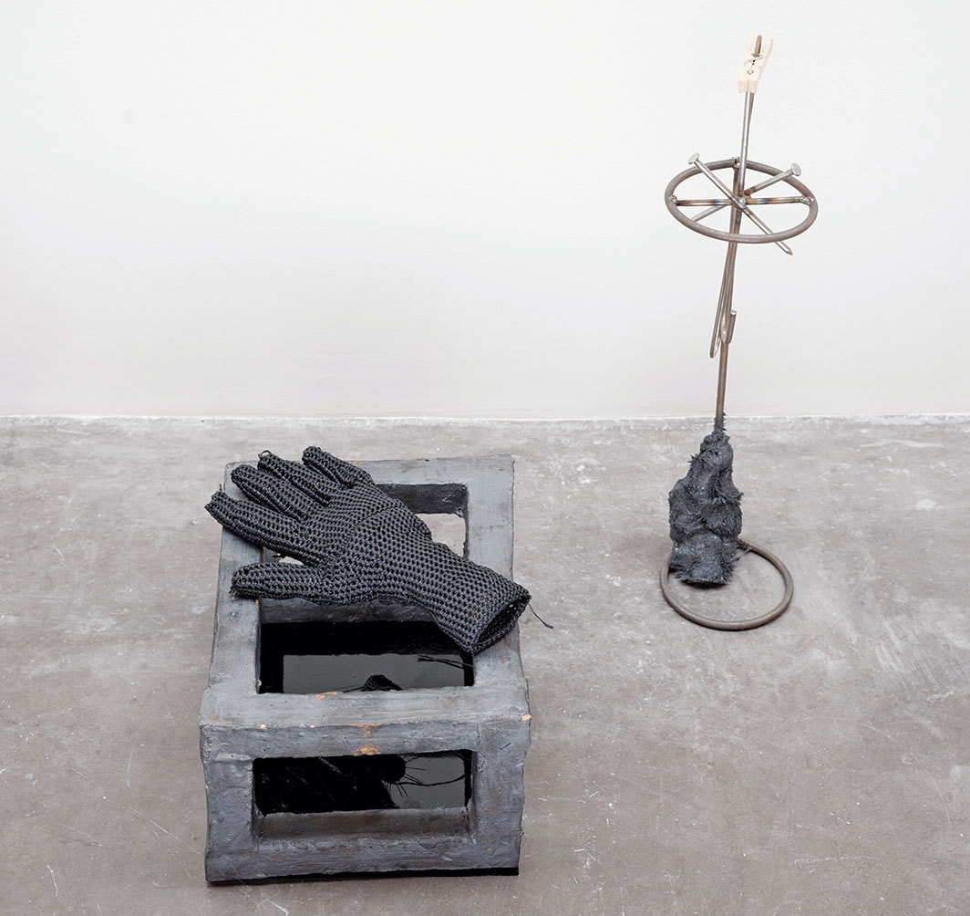 "ektor garcia, manos a la obra (let's do it), 2016, ceramic, glass, crochet, nuts, welded steel, welded nails, magnet, clothespin, 19 1⁄4 × 19 1⁄4 × 21 1⁄4"". Photo: Abigail Enzaldo."