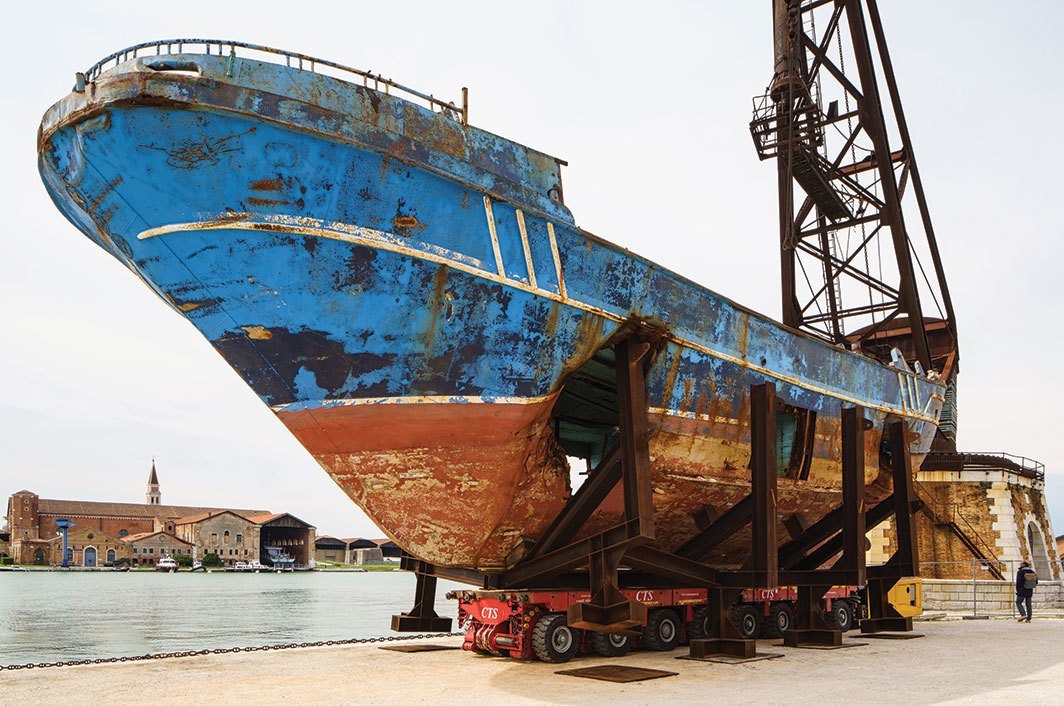 Christoph Büchel, Barca Nostra (Our Boat), 2018–19, wreck of a ship that sank in the Mediterranean on April 18, 2015. Installation view, Arsenale. Photo: Andrea Avezzù.