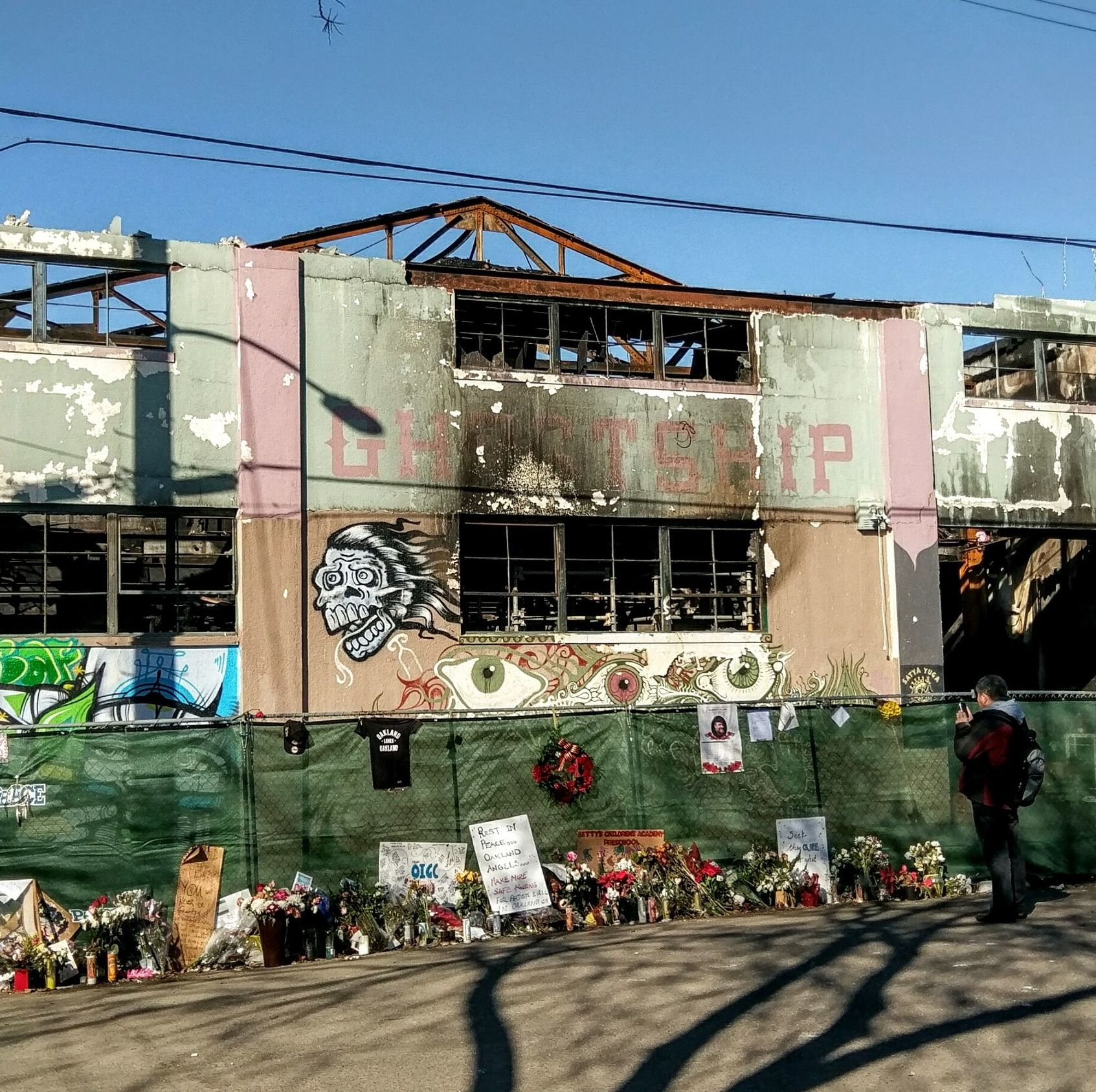 The Ghost Ship warehouse following the fire that killed thirty-six people on December 2, 2016. Photo: Jim Heaphy.