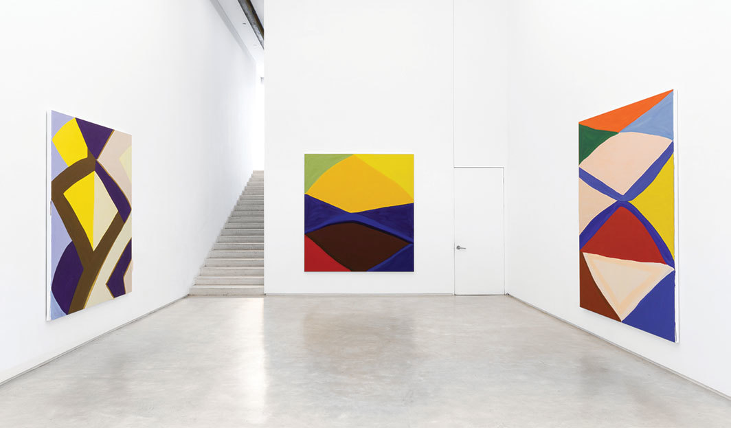 "View of ""Marina Adams,"" 2019. From left: OZ, 2018; Days and Nights, 2018; Cheops, 2018."