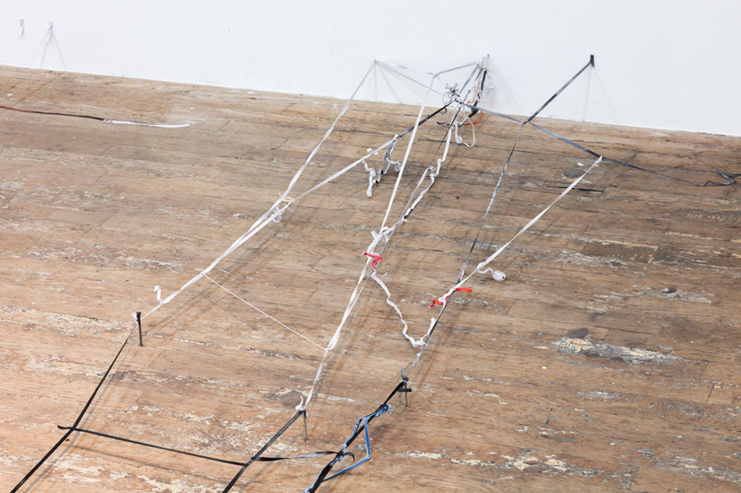 Olga Balema, 1, 2019, elastic bands, paint, glue, nails, staples, dimensions variable.