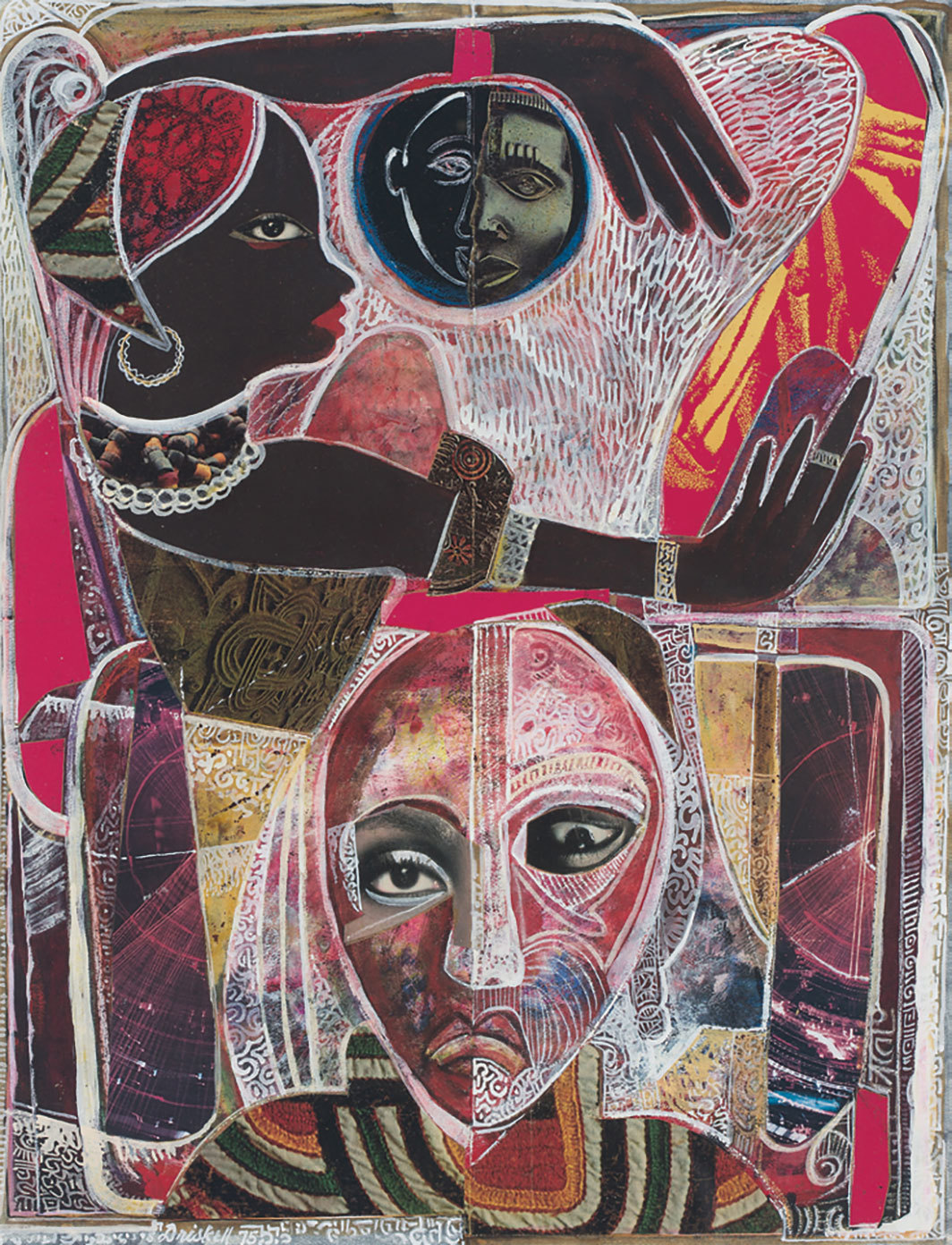 "David Driskell, Memories of a Distant Past, 1975, egg tempura, gouache, and collage on paper, 21 1⁄2 × 16""."
