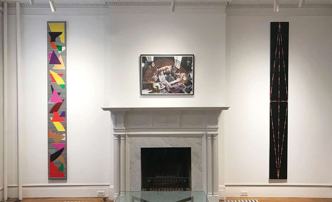 "View of ""Rico Gatson and Baseera Khan,"" 2019. From left: Rico Gatson, Panel Painting #41, 2019; Baseera Khan, My Family Seated, 2019; Rico Gatson, Panel Painting #42, 2019."