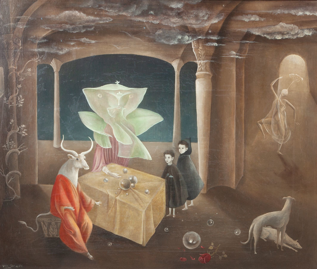 "Leonora Carrington, And Then We Saw the Daughter of the Minotaur!, 1953, oil on canvas, 23 3⁄5 × 27 1⁄2""."