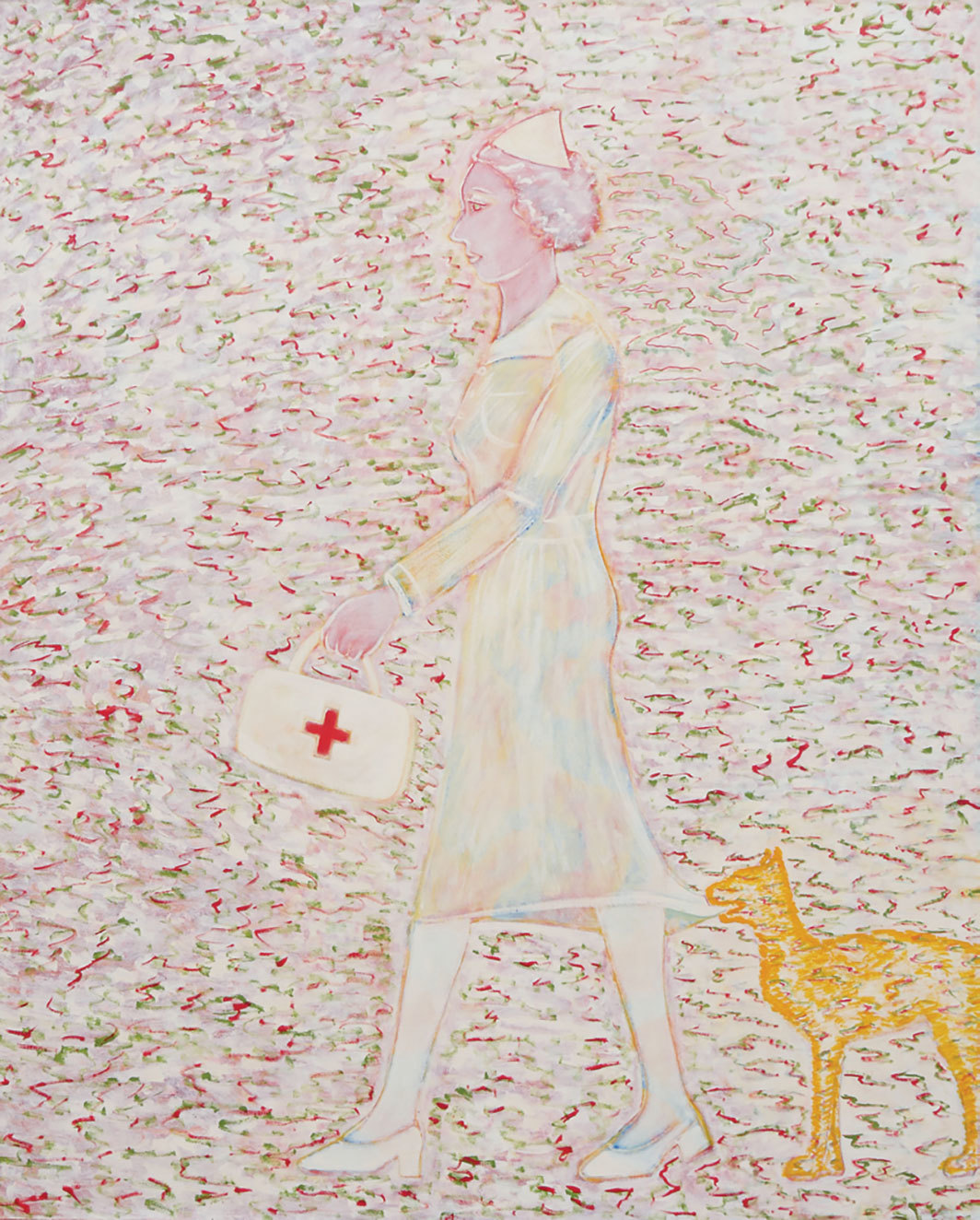 "Joan Brown, The Cosmic Nurse, 1978, acrylic on canvas, 96 1⁄2 × 79""."