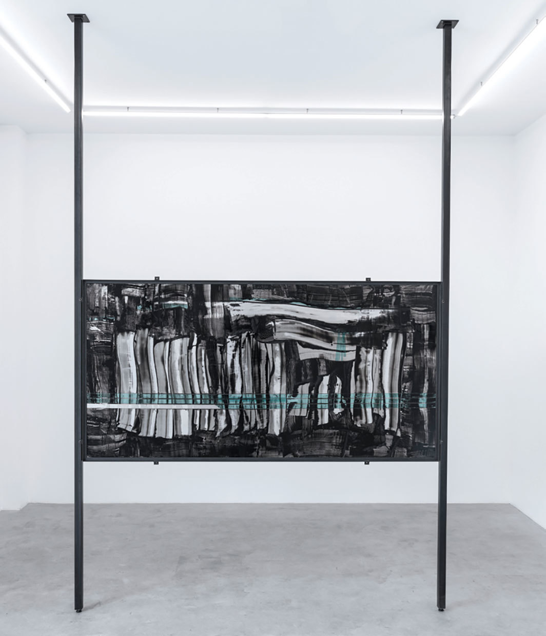 "Behjat Sadr, Untitled, ca. 1974, oil on aluminum, painted steel, 78 6⁄8 × 39 3⁄8""."