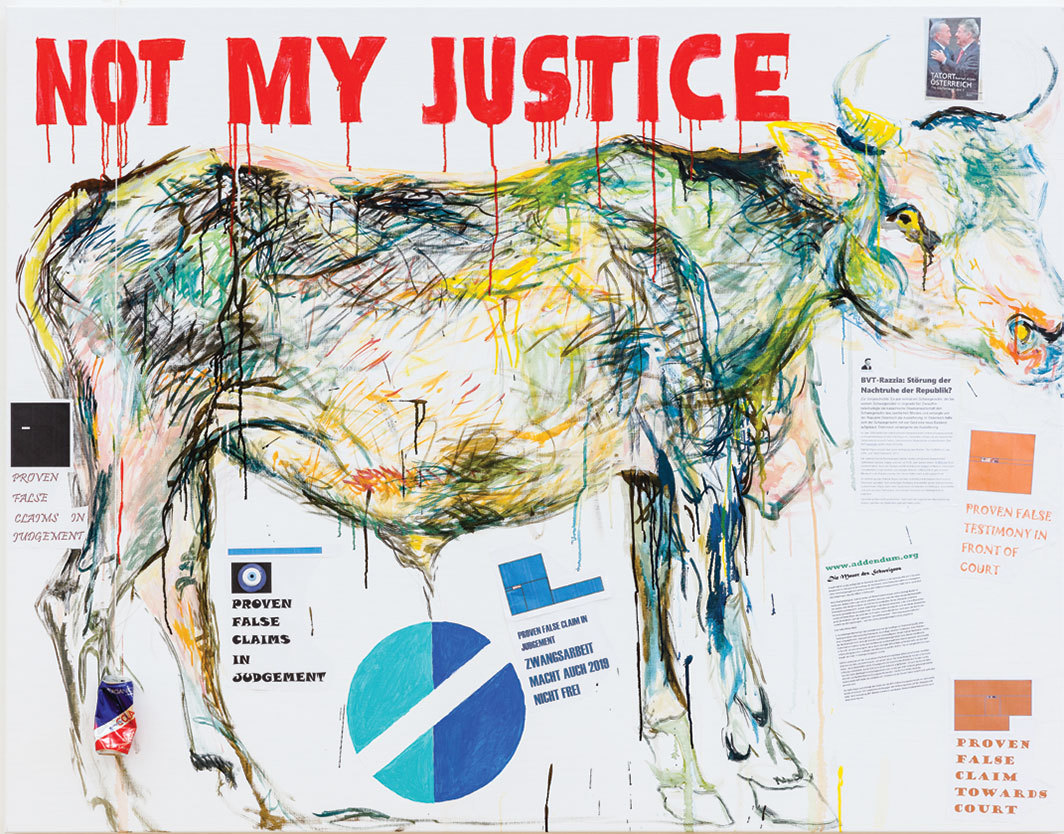 "Elke Silvia Krystufek, NOT MY JUSTICE, 2019, acrylic and ink on canvas, 55 1⁄8 × 70 7⁄8""."