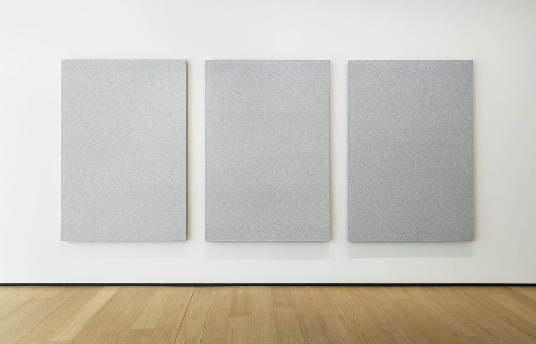 "View of ""Roman Opałka,"" 2019. From left: Détail 1896176–1916613; Détail 1916614–1940089; Détail 1940090–1965011, all works undated."