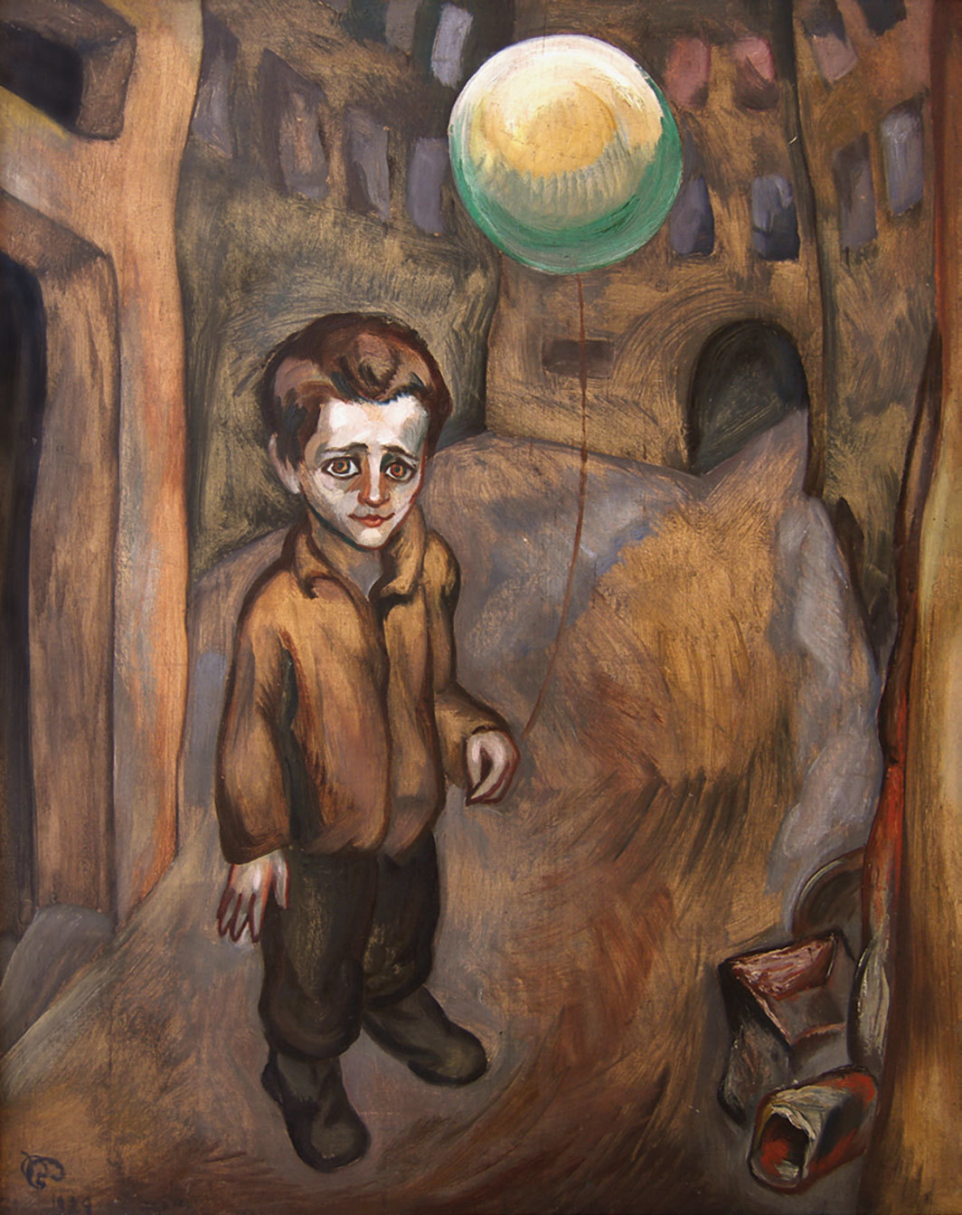 "Roman Petrović, Dećek z balonom (Boy with a Balloon), 1929, oil on plywood, 57 1⁄2 × 45 1⁄8"". From ""On the Brink: The Visual Arts in the Kingdom of Yugoslavia (1929–1941)."""
