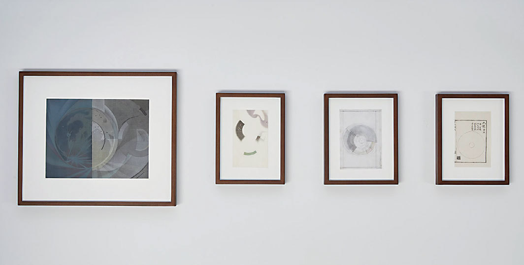 "View of ""Hao Liang,"" 2019. From left: Lunar Corona No. 6, 2018; Lunar Corona No. 5, 2018, Lunar Corona No. 4, 2018; Lunar Corona No. 3, 2018."